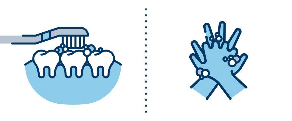 come lavarsi denti e mani coronavirus